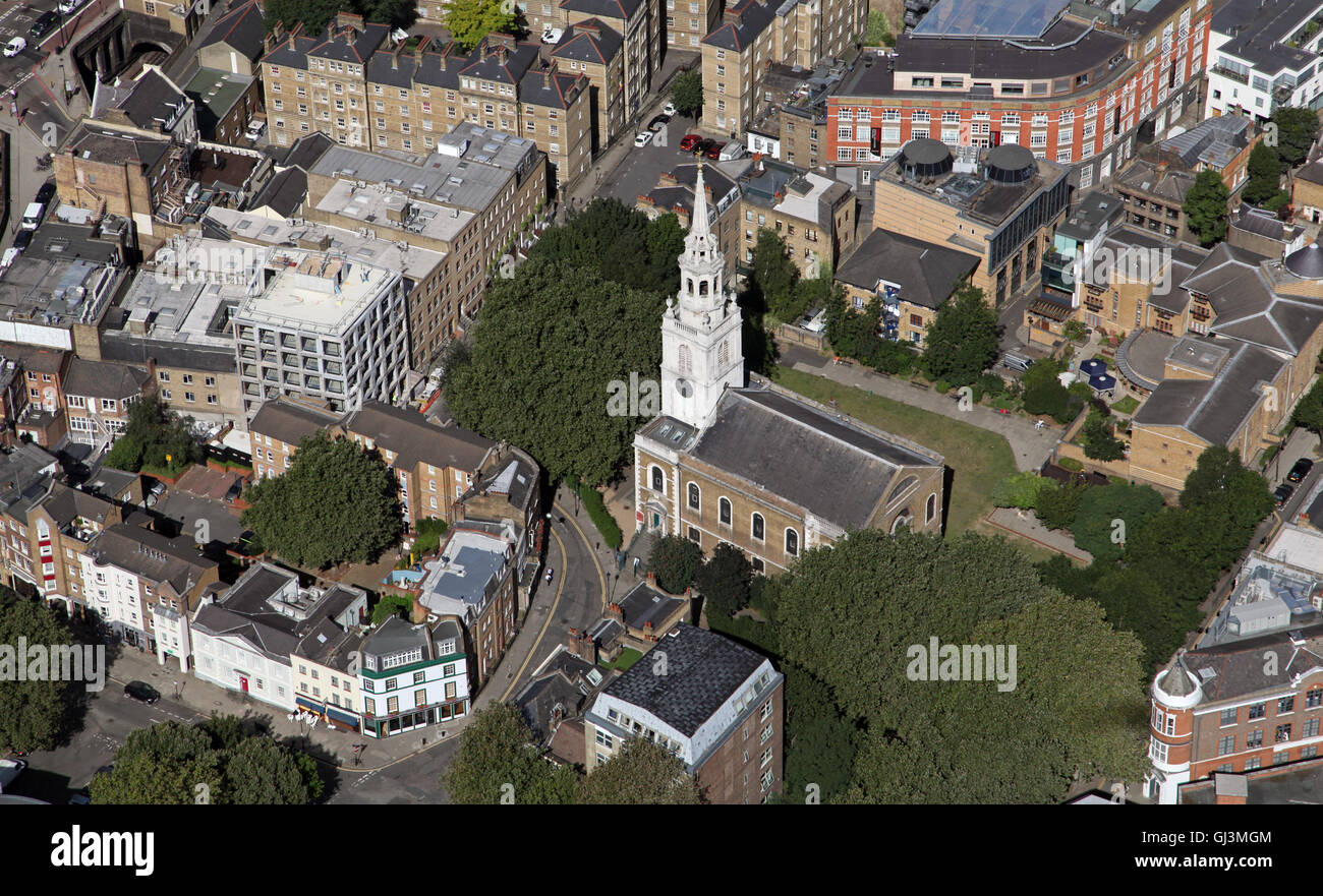 aerial view of one of London's many parish churches - Stock Image