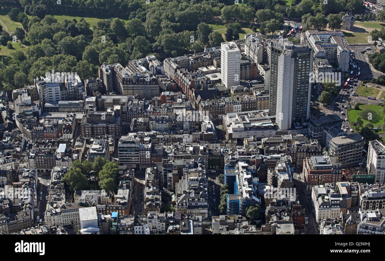 aerial view of the district of Mayfair in London, UK - Stock Image