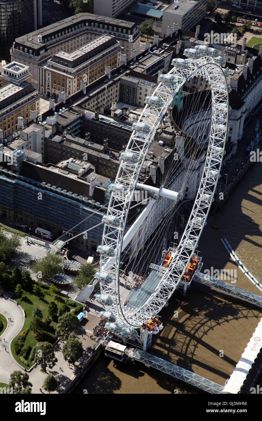 aerial view of The London Eye or British Airways Millennium Wheel on the bank of The Thames, UK - Stock Image