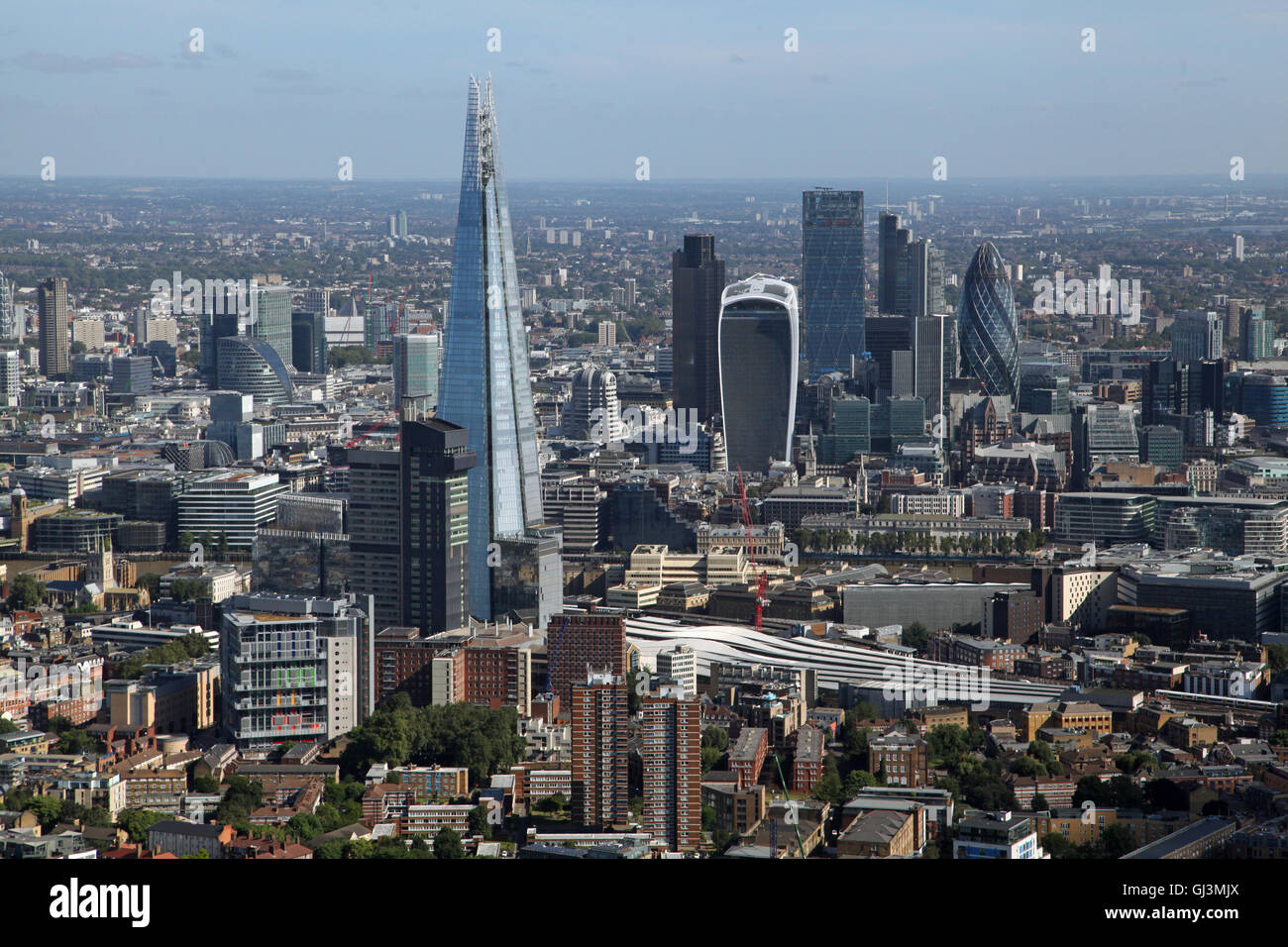 aerial view of the shard and city of london skyline with. Black Bedroom Furniture Sets. Home Design Ideas