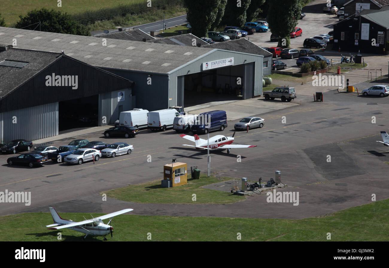 aerial view of Stapleford Aerodrome airfield in Essex, UK - Stock Image