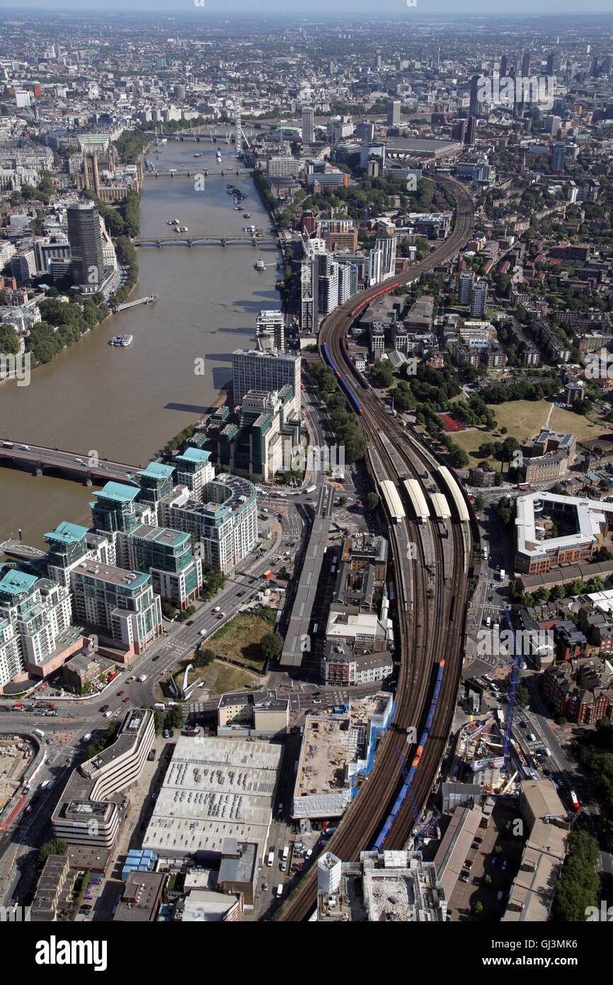 aerial view of the Waterloo railway train line heading in to Waterloo Station by the River Thames in London, UK - Stock Image