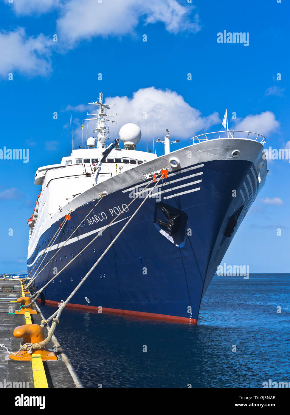 dh Marco Polo CRUISE SHIP CARIBBEAN CMV cruise liner berthed Kingstown St Vincent wharf pier - Stock Image