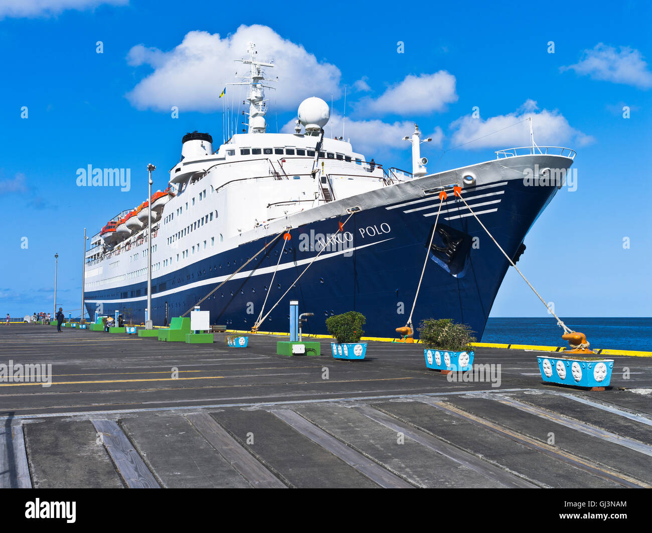 dh Marco Polo CRUISE SHIP CARIBBEAN cmv cruise liner berthed kingstown st vincent wharf pier in port - Stock Image