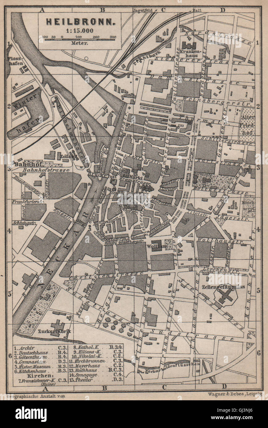Heilbronn Karte Stadtplan.Heilbronn Antique Town City Stadtplan Baden Wurttemberg