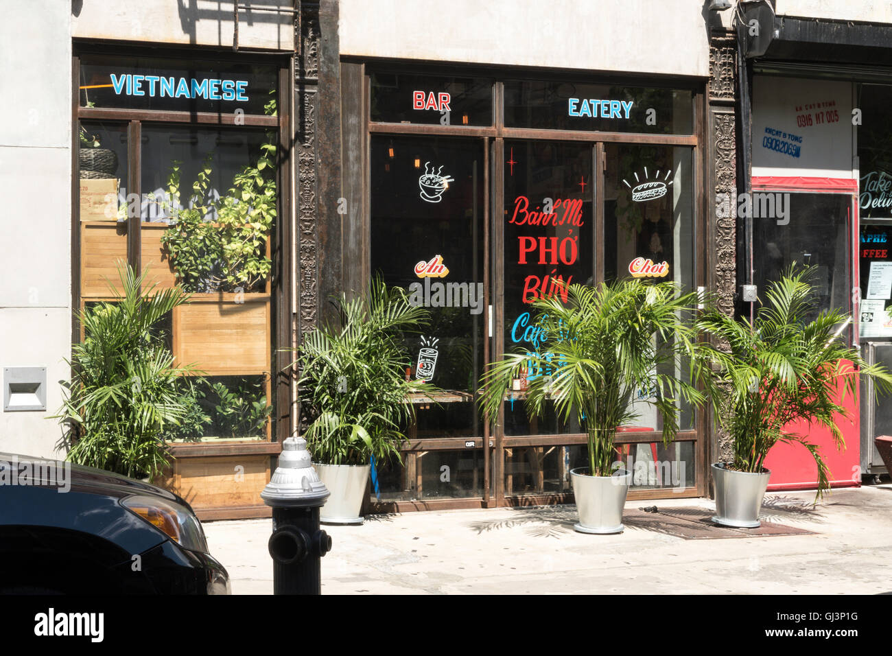 Vietnamese Restaurant Facade Orchard Street Nyc Usa Stock