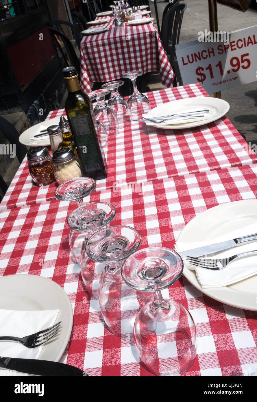 Outdoor Restaurant Dining Tables And Place Settings With Checkered  Tablecloths, , Little Italy, NYC, USA