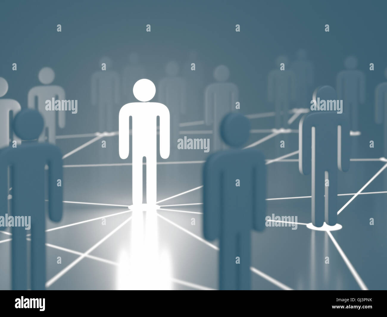 People interconnected on the concept of business and global communication. - Stock Image