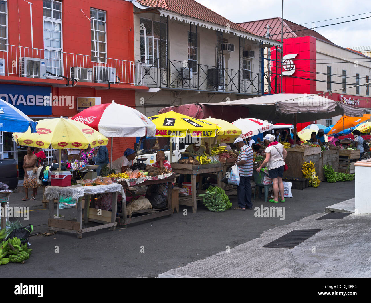 dh St George GRENADA CARIBBEAN Street scene town outdoor market place - Stock Image