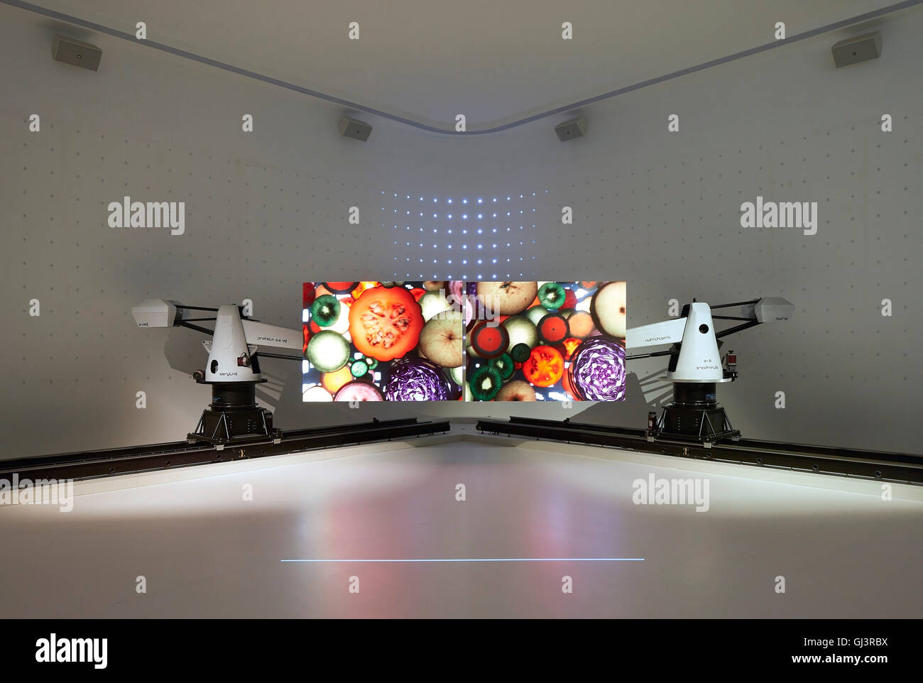 Exhibition with photo mural on food issues. Milan EXPO 2015, Korea Pavilion, Milan, Italy. Architect: BCHO Architects, - Stock Image