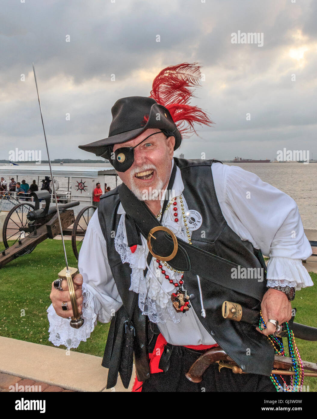 Snarling pirate during Contraband Days in Lake Charles, Louisiana, celebrating the days of pirate Jean Lafitte. - Stock Image
