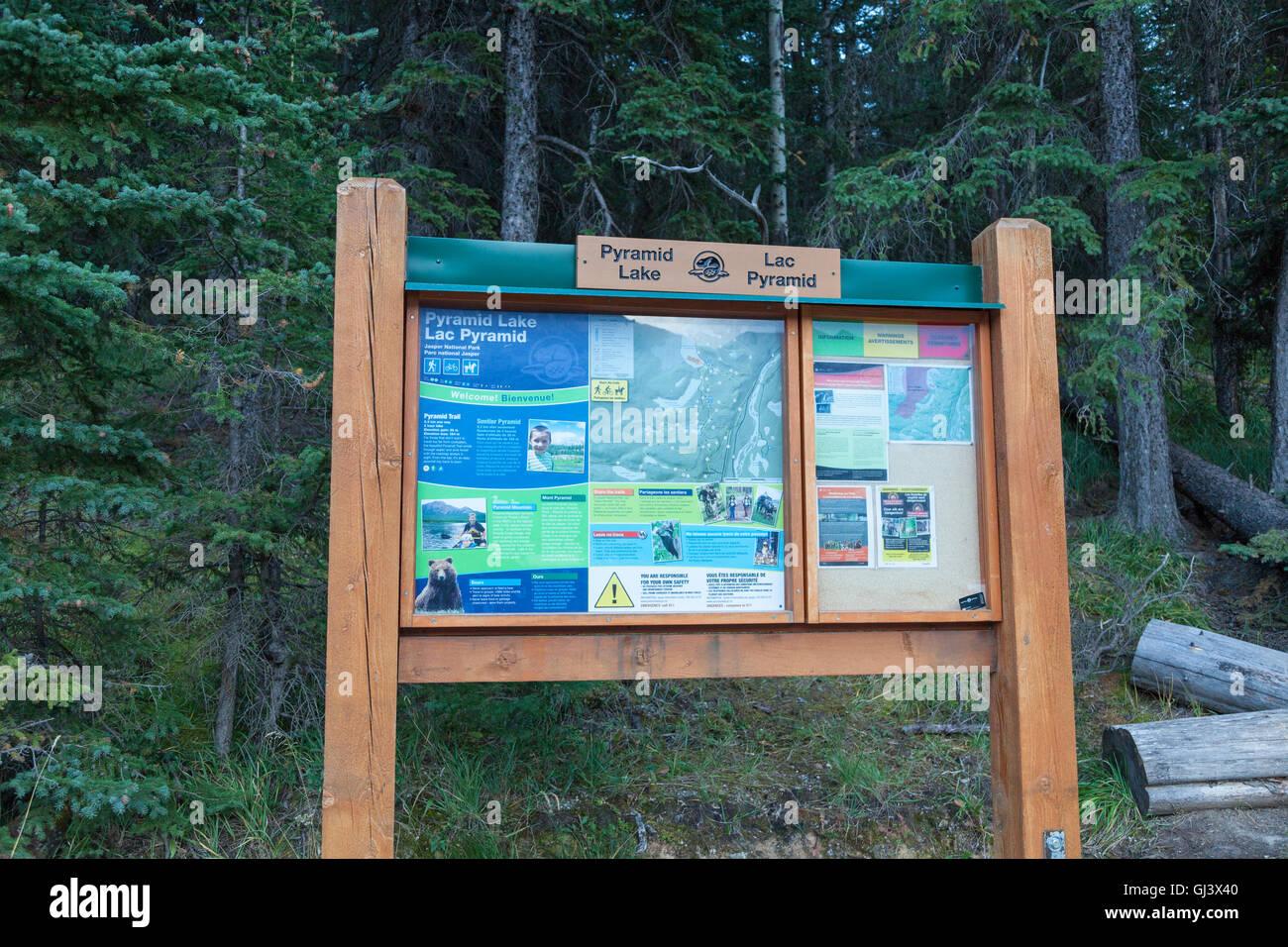 A noticeboard for Pyramid Lake in Jasper National Park, Alberta, Canada - Stock Image