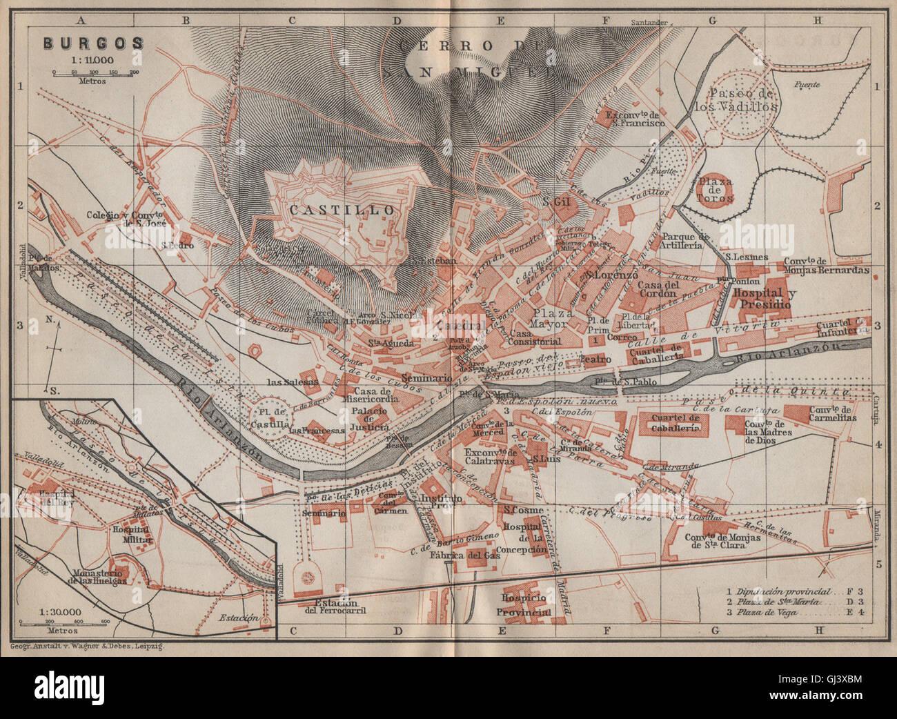 Mapa De Burgos Ciudad.Burgos Antique Town City Ciudad Plan Spain Espana Mapa
