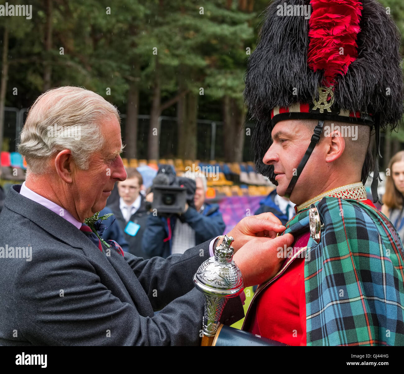 Ballater, Aberdeenshire,Scotland,UK. 11th August 2016. This is Charles Prince of Wales and Duke of Rothesay at Ballater - Stock Image