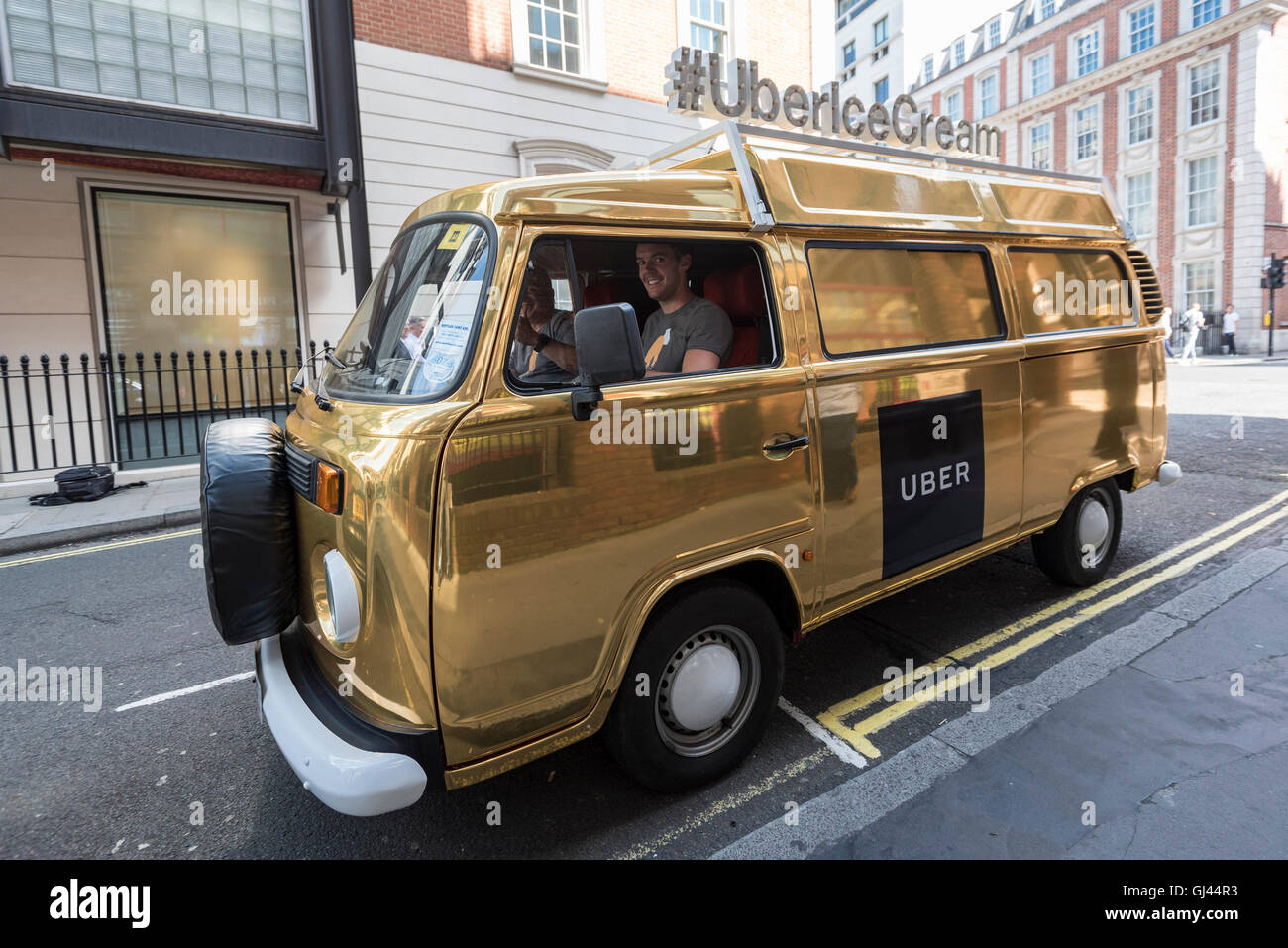 12 August 2016 A Gold Coloured VW Camper Van Marked As An UBER Ice Cream Is Seen In Mayfair Users Of UBERs New Food Ordering App Eats