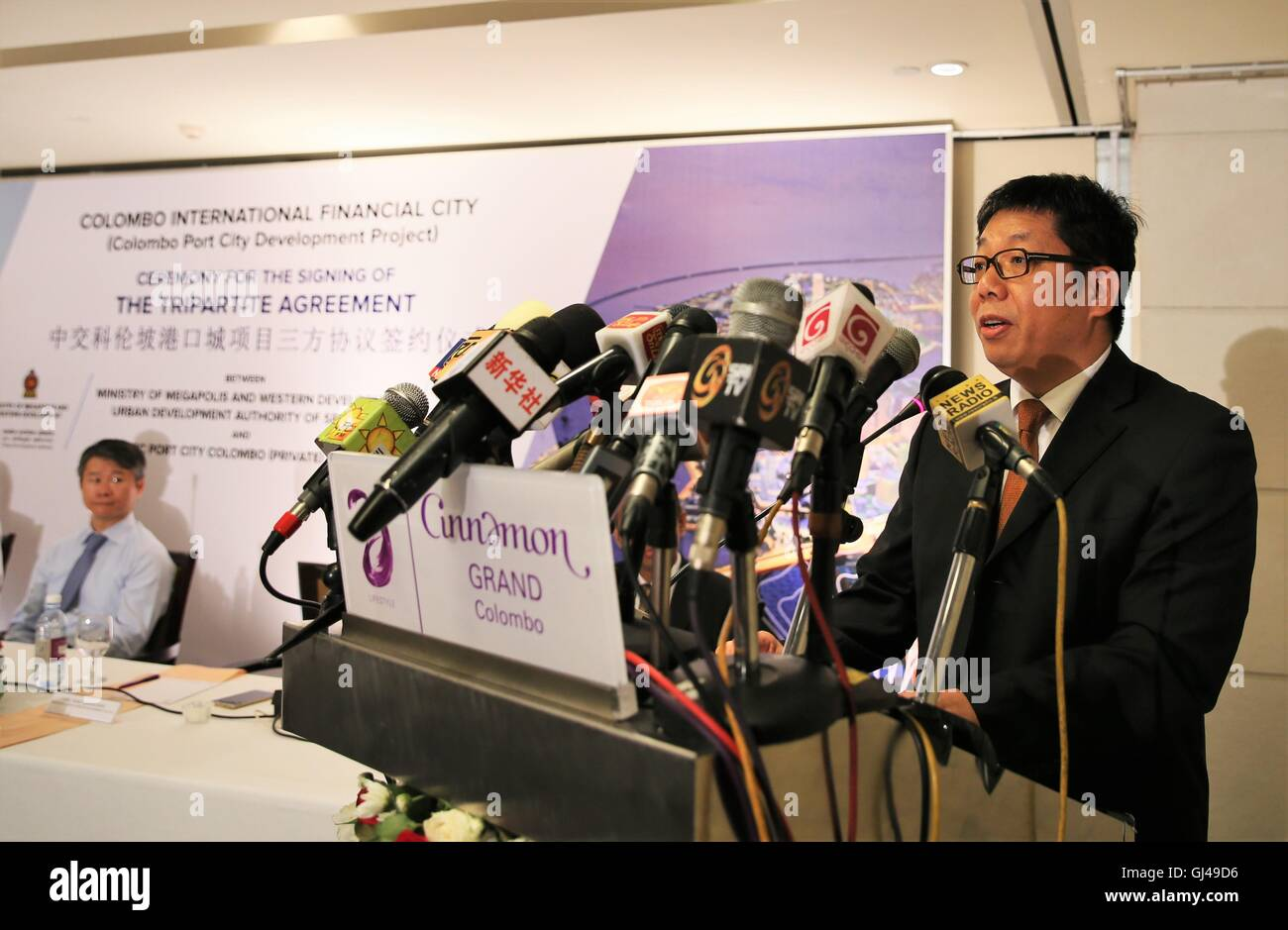 Colombo, Sri Lanka. 12th Aug, 2016. President of the China Harbour Engineering Company (CHEC) Tang Qiaoliang speaks - Stock Image