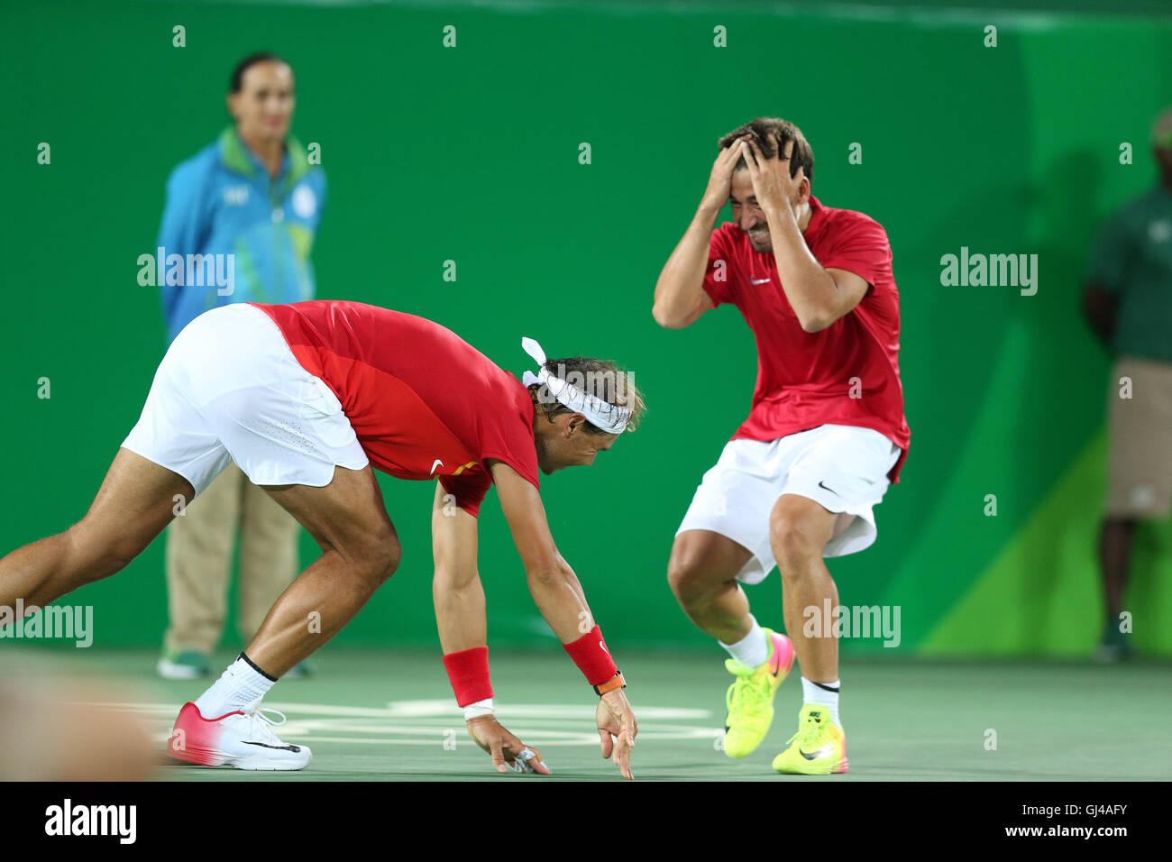 Rio De Janeiro, Rio de Janeiro, Brazil. 12th Aug, 2016. RJ - Olympic/Tennis Games - SPORTS - Rafael Nadal and Marc - Stock Image