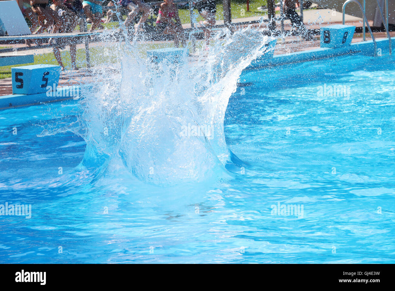 pool splash cannonball. Altenburg, Germany. 13th Aug, 2016. A Participant Jumping Into The Water At Pool Splash Cannonball M