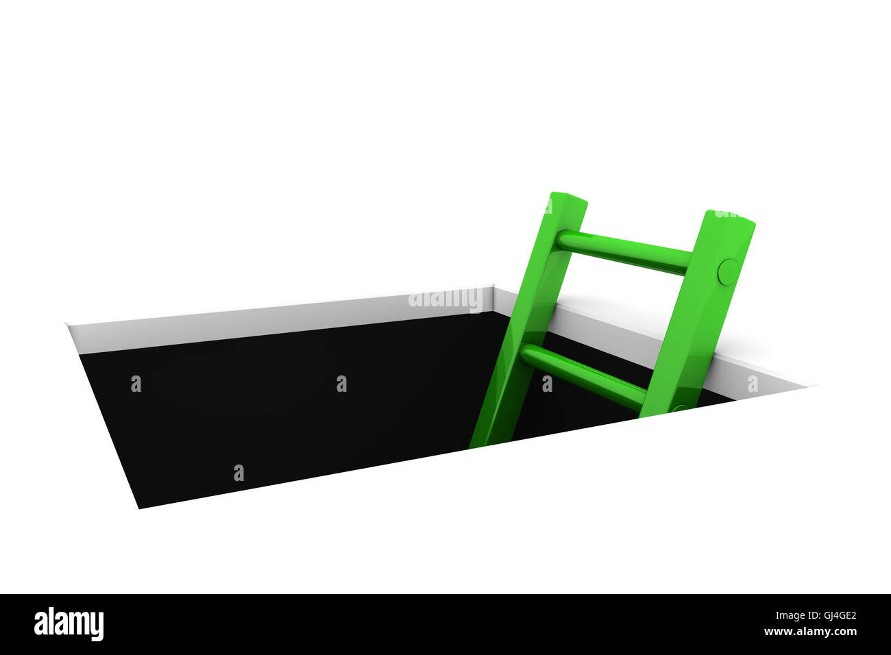Climb out of the Hole - Shiny Green Ladder - Stock Image