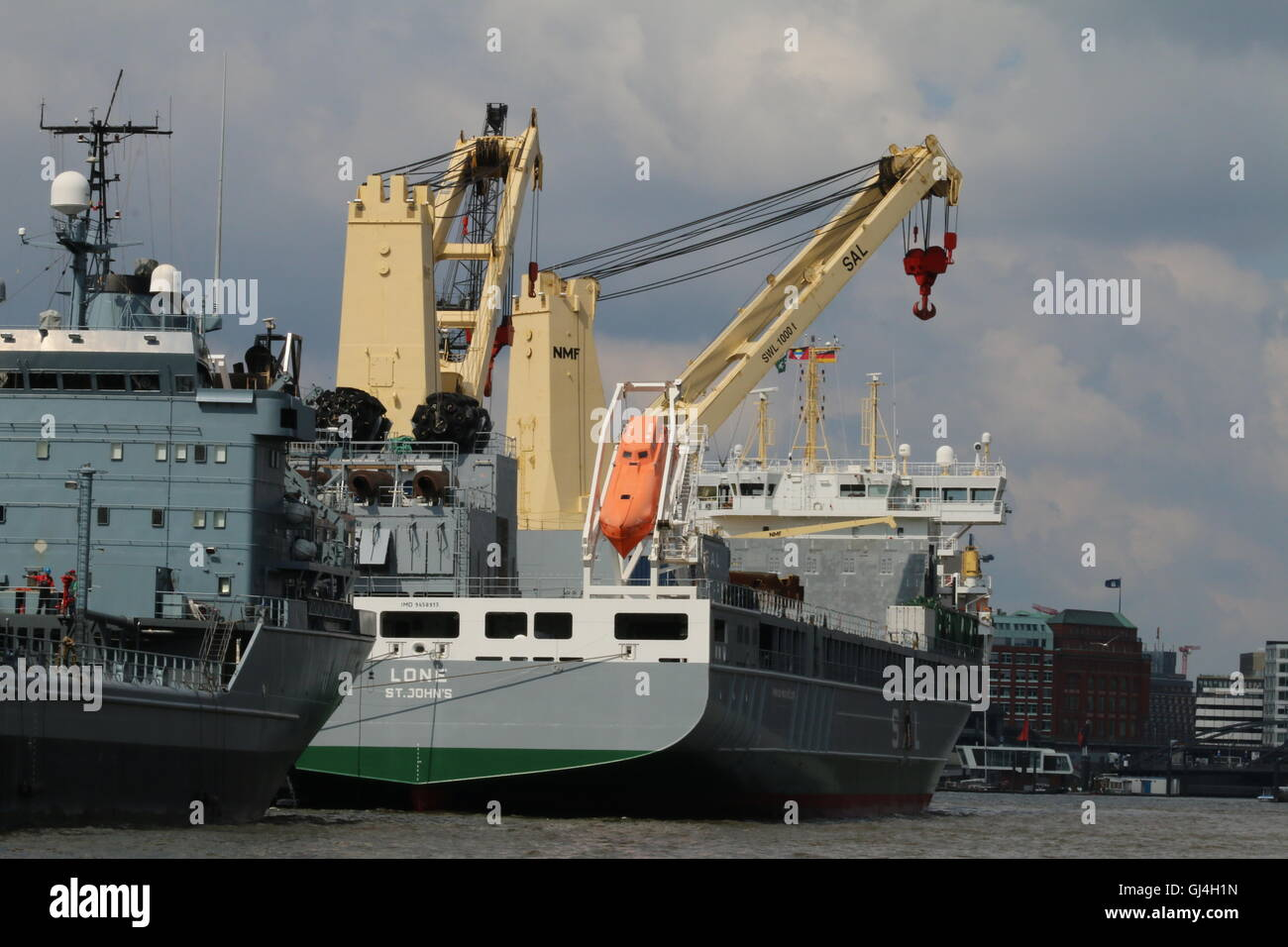 12,975 dwt Heavy lift ship Lone owned by SAL Shipping docked in Hamburg, Germany - Stock Image