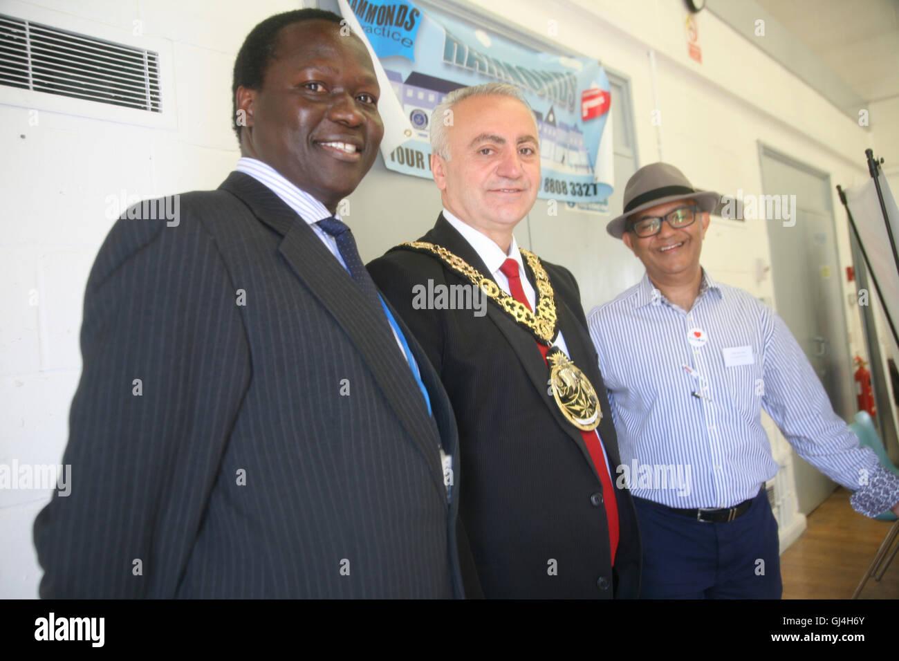 Community Impact Haringey, Chestnuts Community Centre,  Mayor of Haringey,  Ozbek, with councillors . - Stock Image