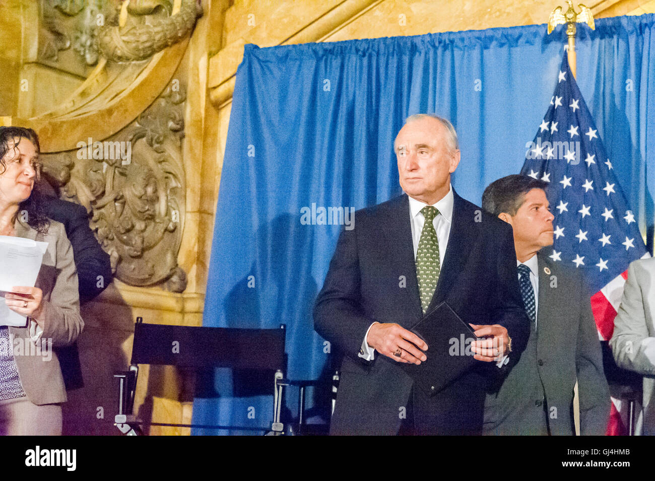 NYPD Commissioner William Bratton at a bill signing related to NYPD reporting procedures on Wednesday, August 3, - Stock Image