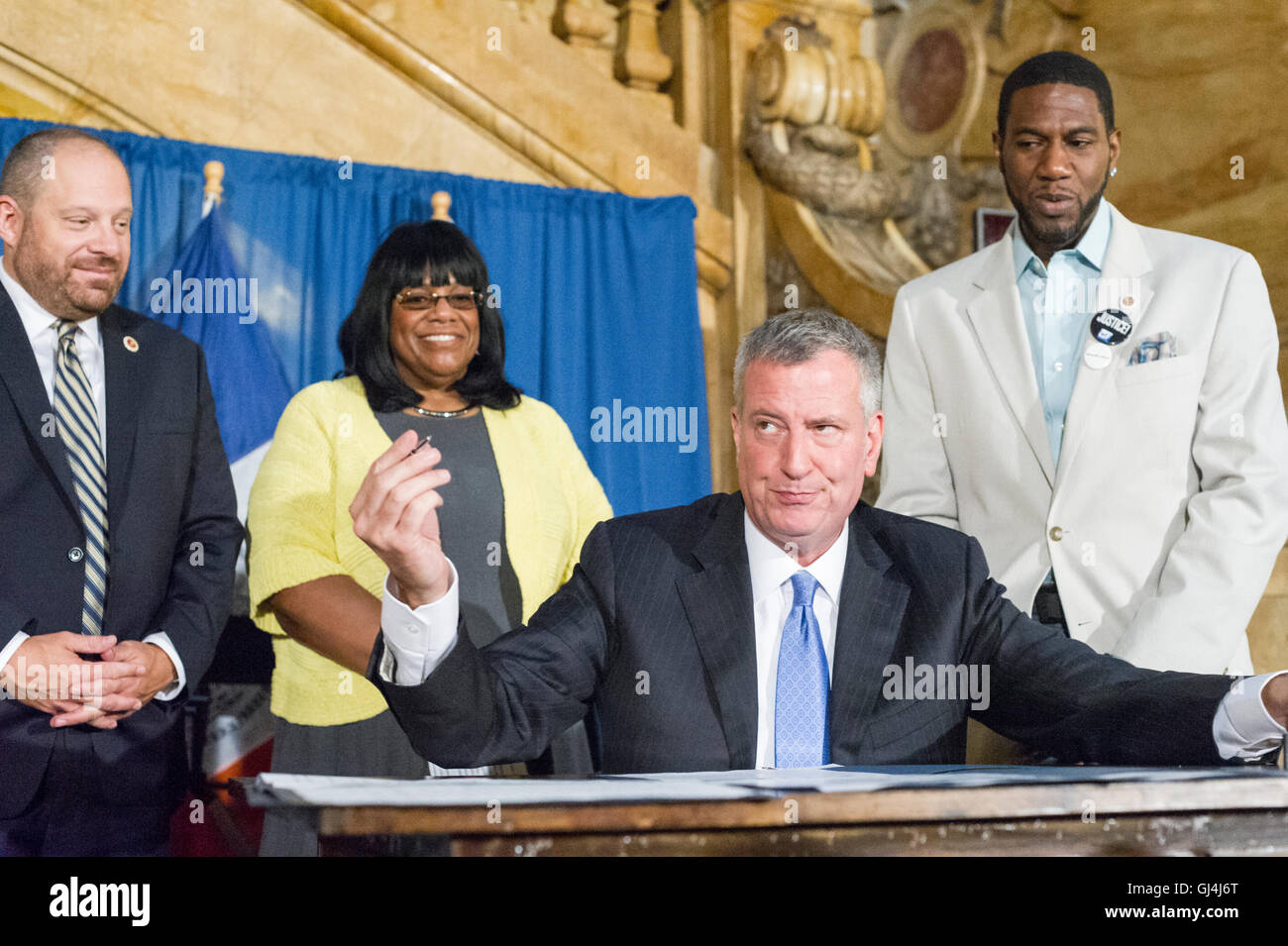 New York Mayor Bill de Blasio, at a bill signing related to NYPD reporting procedures on Wednesday, August 3, 2016 - Stock Image