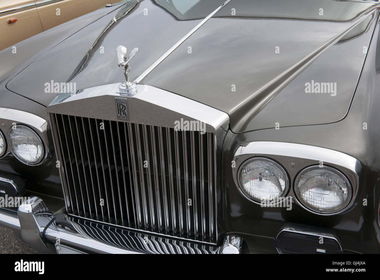 Front of Rolls Royce motor car. - Stock Image