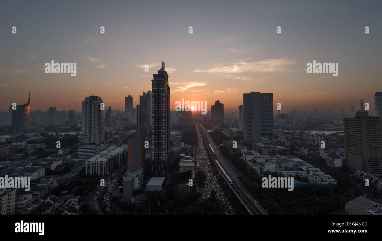 Bangkok cityscape at sunset, Thailand - Stock Image