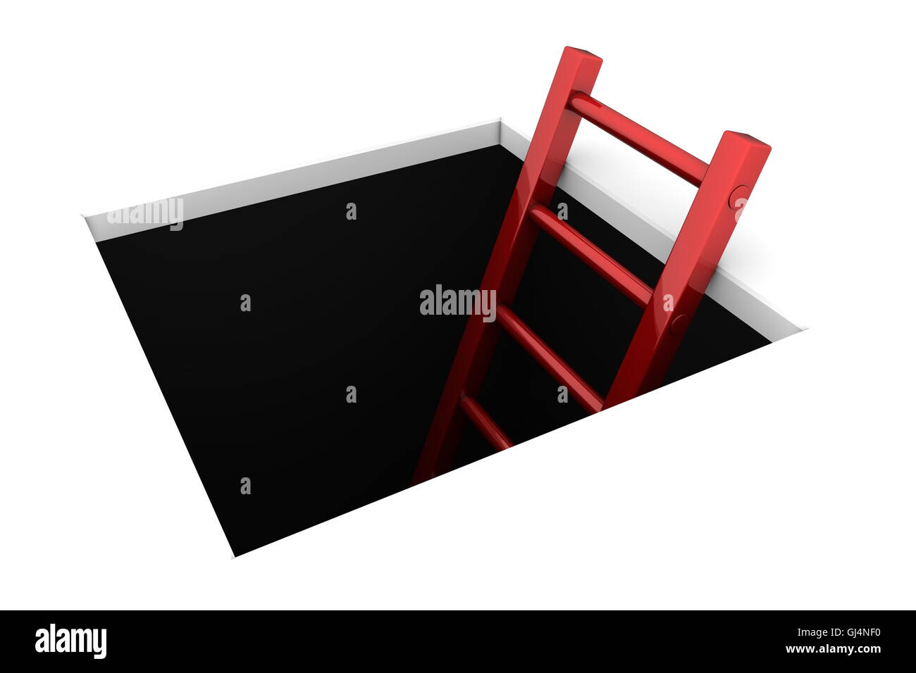 Climb out of the Hole - Shiny Red Ladder - Stock Image