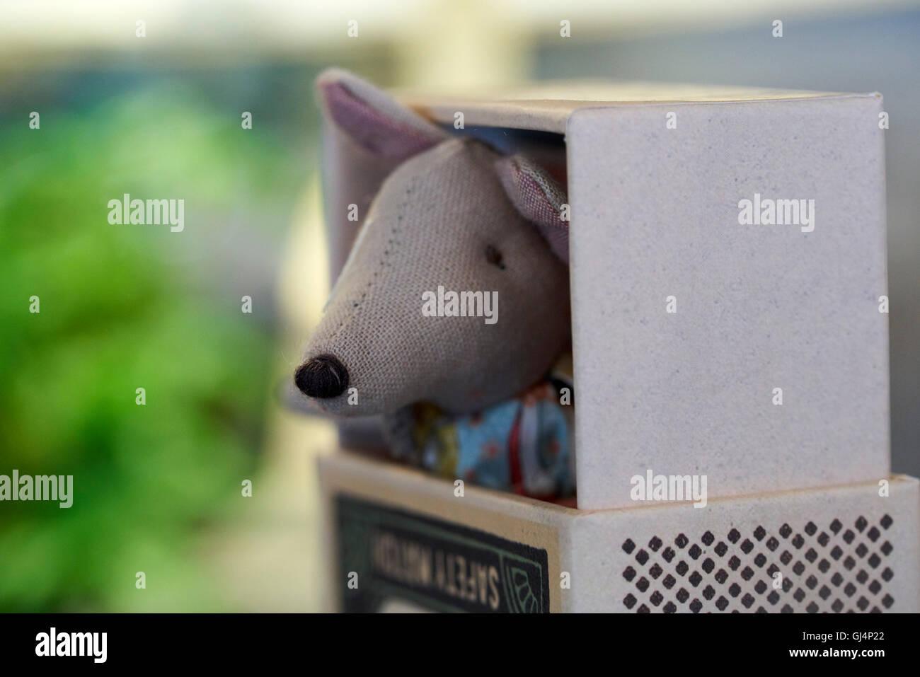 Toy stuffed mounse peeking out of match box - Stock Image