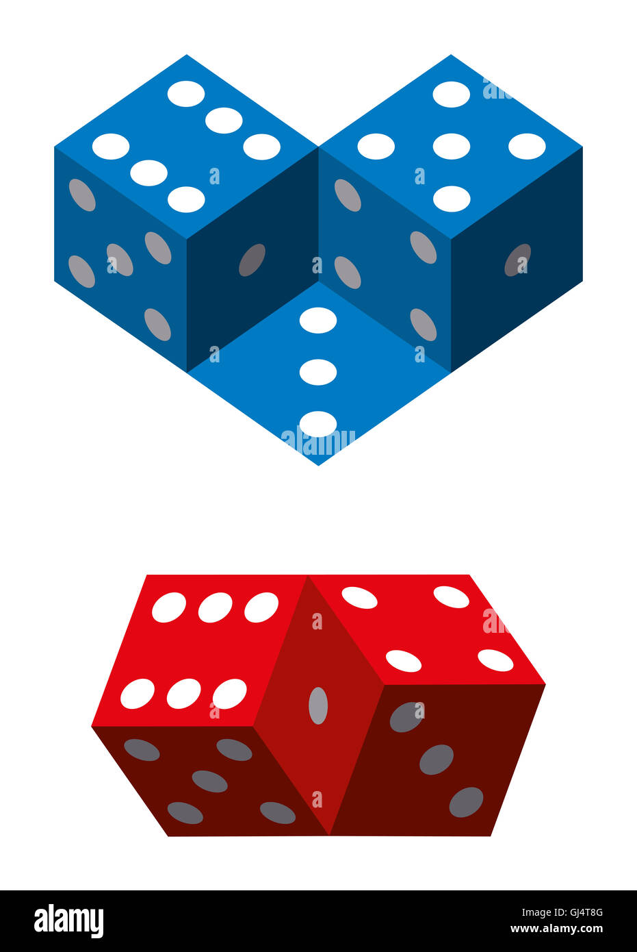 Optical illusions with dice. Geometrical illusion with blue and red dice. Illustration on white background. - Stock Image