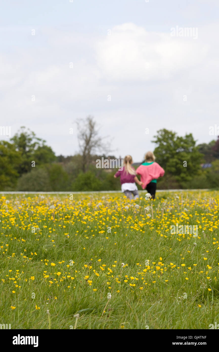 Two girls running through a field of buttercups - Stock Image