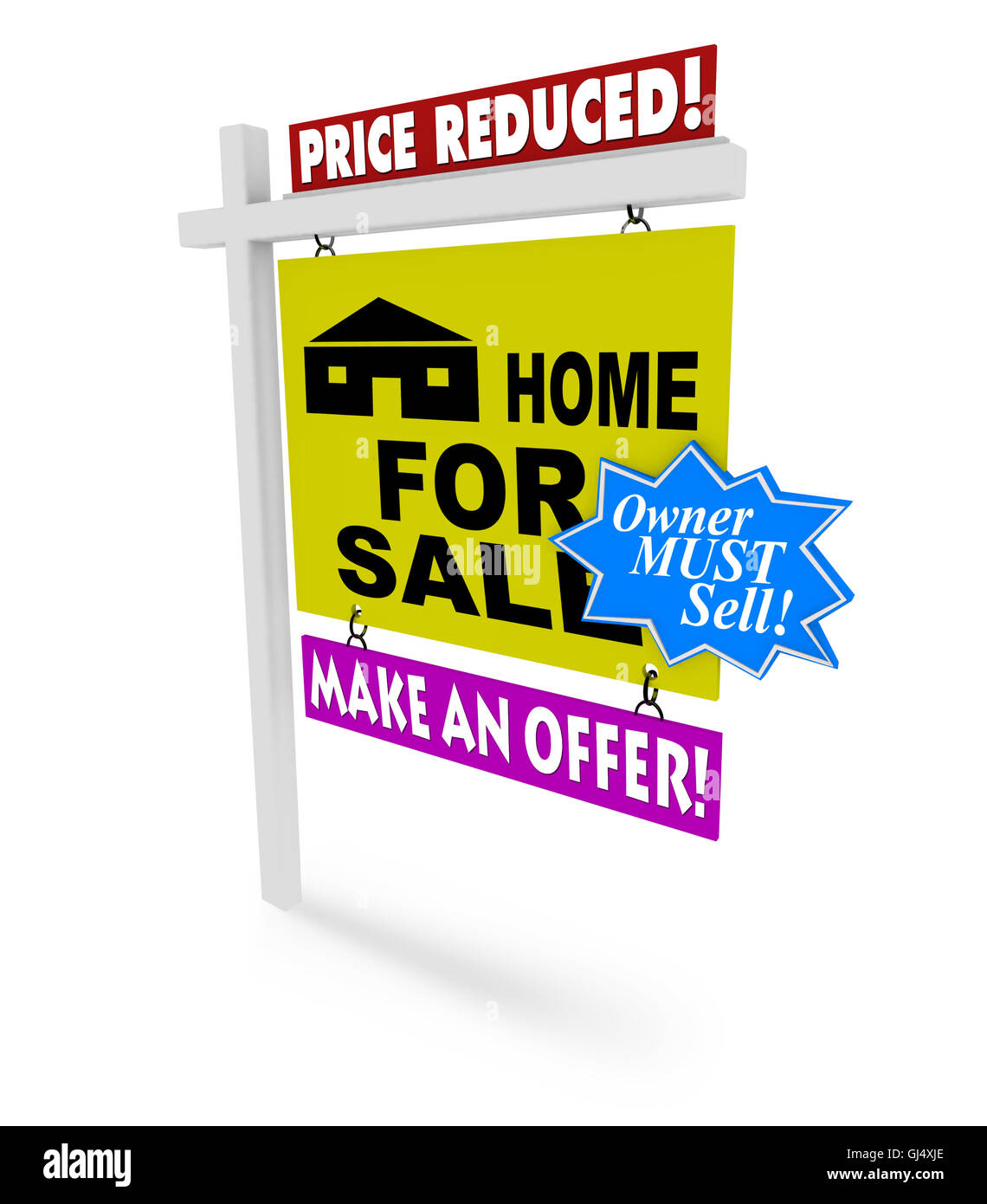 Price Reduced - Home for Sale Sign - Stock Image