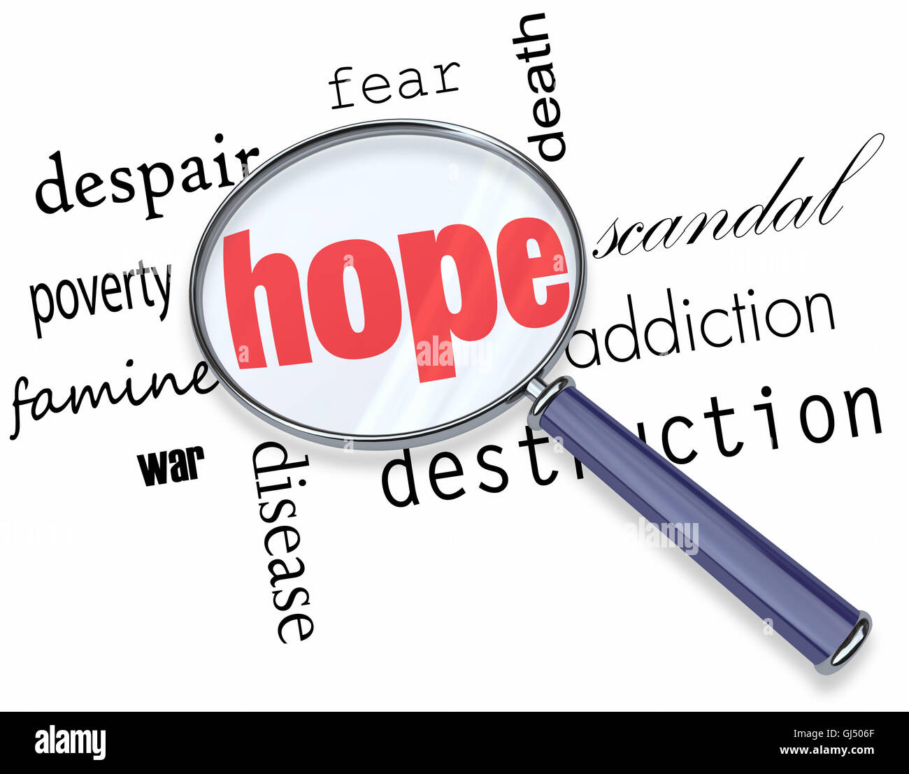 Searching for Hope in Bad News - Magnifying Glass - Stock Image
