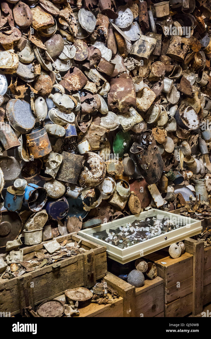 WWI findings at the Romagne '14 '18, First World War One museum at Romagne-sous-Montfaucon, Lorraine, France - Stock Image
