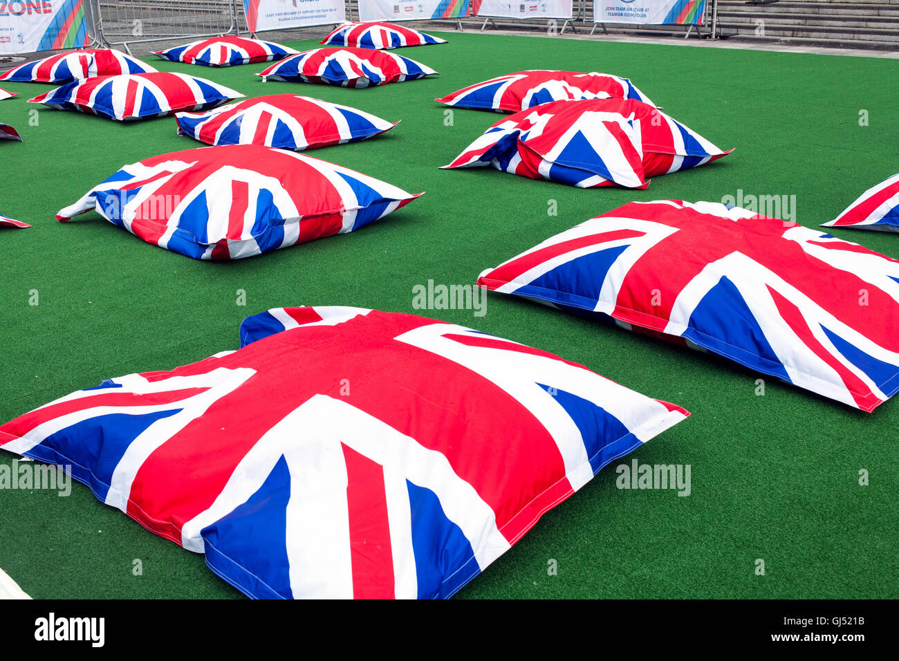 Union Jack Bean Bags. Salford Quays Mediacity Olympics Fanzone. - Stock Image