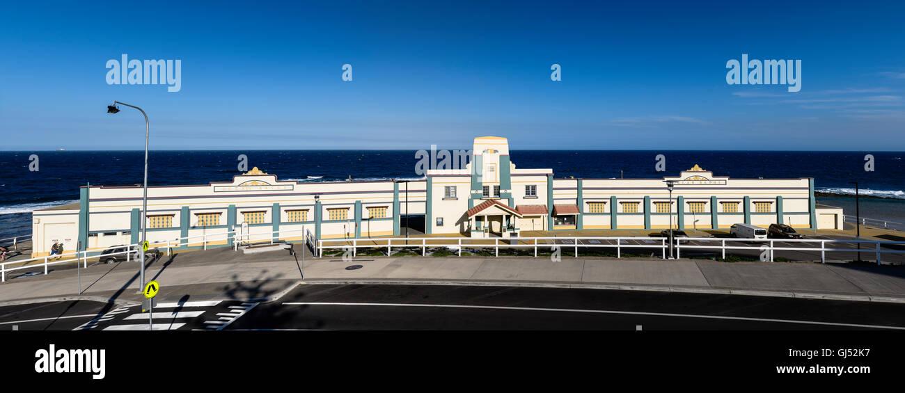 The Art Deco facade of the Newcastle City Council Ocean Baths in Australia. - Stock Image