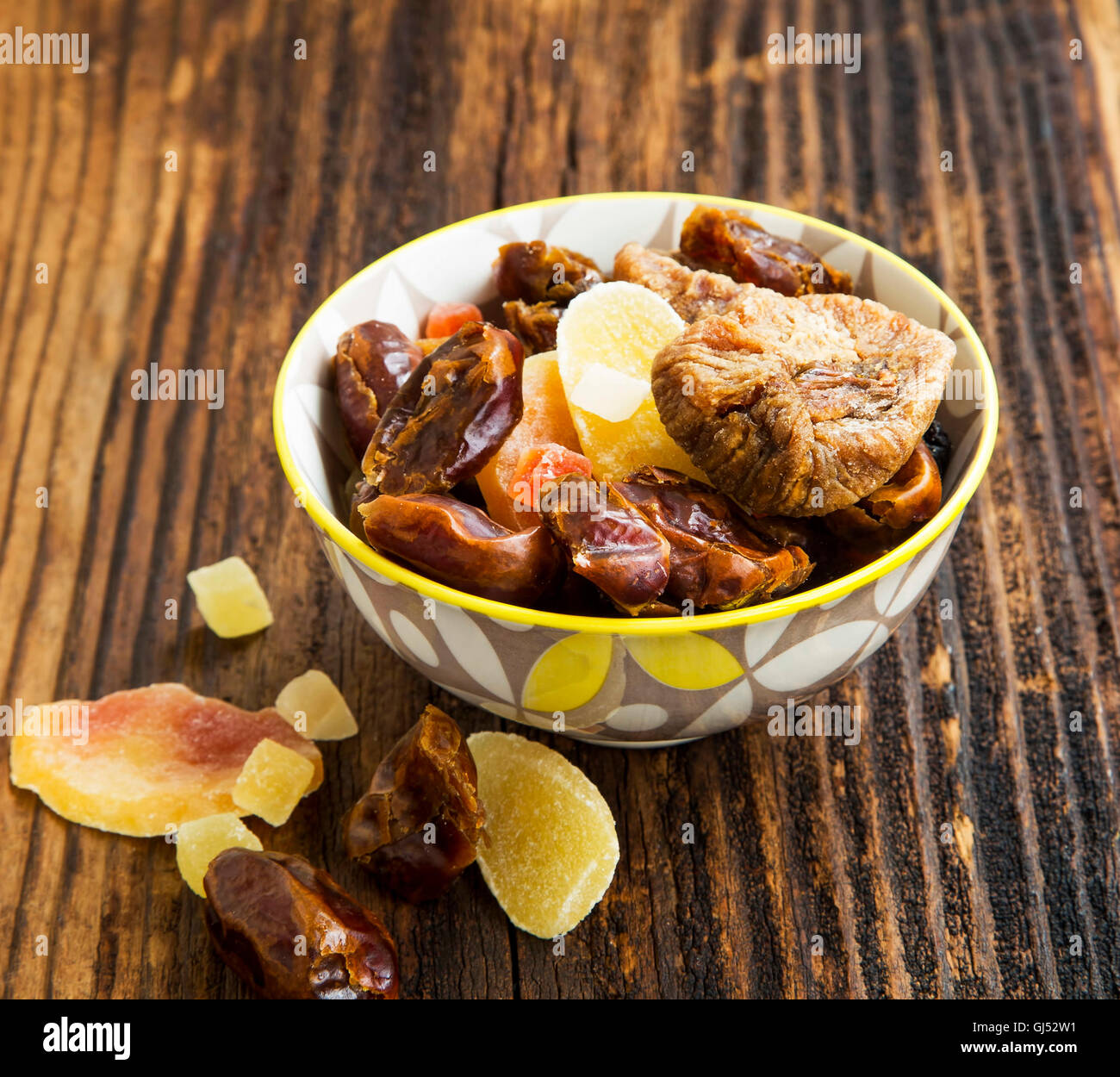 Dried and candied fruits assortment in a bowl Stock Photo