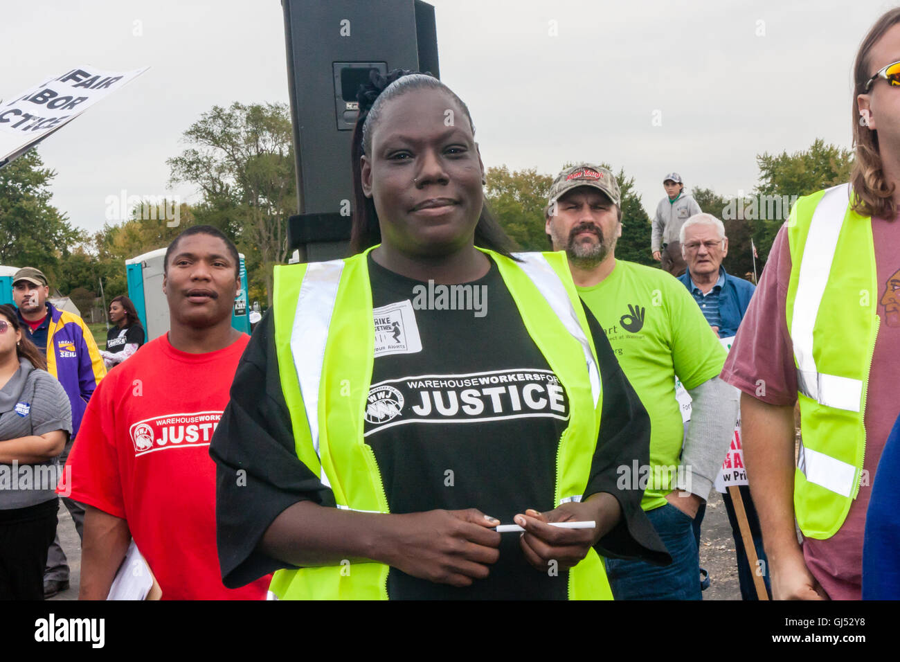 Elwood, Illinois - Oct. 1, 2012: Striking workers and supporters from the Walmart distribution center rally for - Stock Image