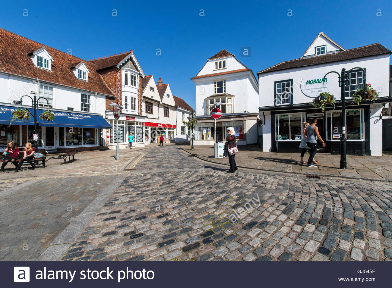 People going about their various activities town of Thame in Oxfordshire England - Stock Image