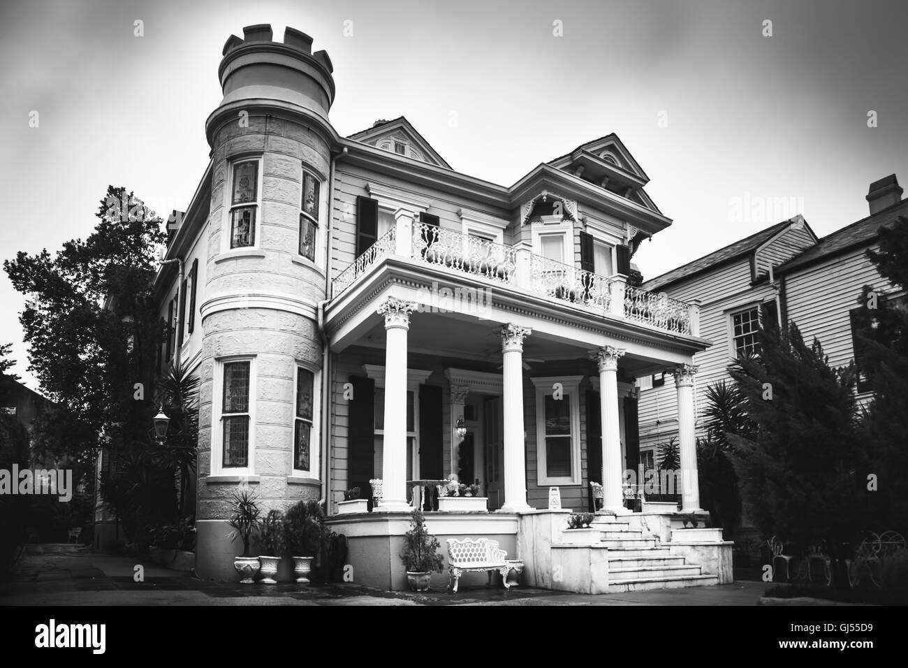 Cornstalk Hotel, French Quarter, New Orleans, Louisiana. 2016 Black and White Photo. - Stock Image