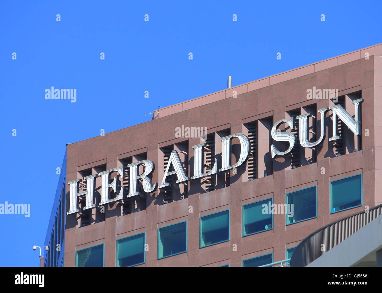 Herald Sun newspaper logo , morning tabloid newspaper based in Melbourne Australia. Stock Photo