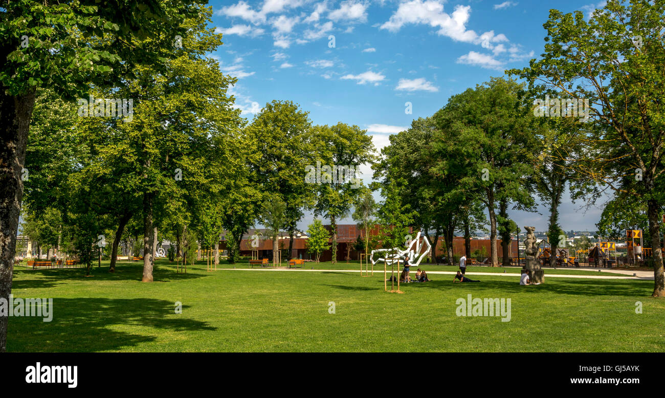 Rodez. Aveyron. Garden foirail and museum Pierre Soulages. France Stock Photo