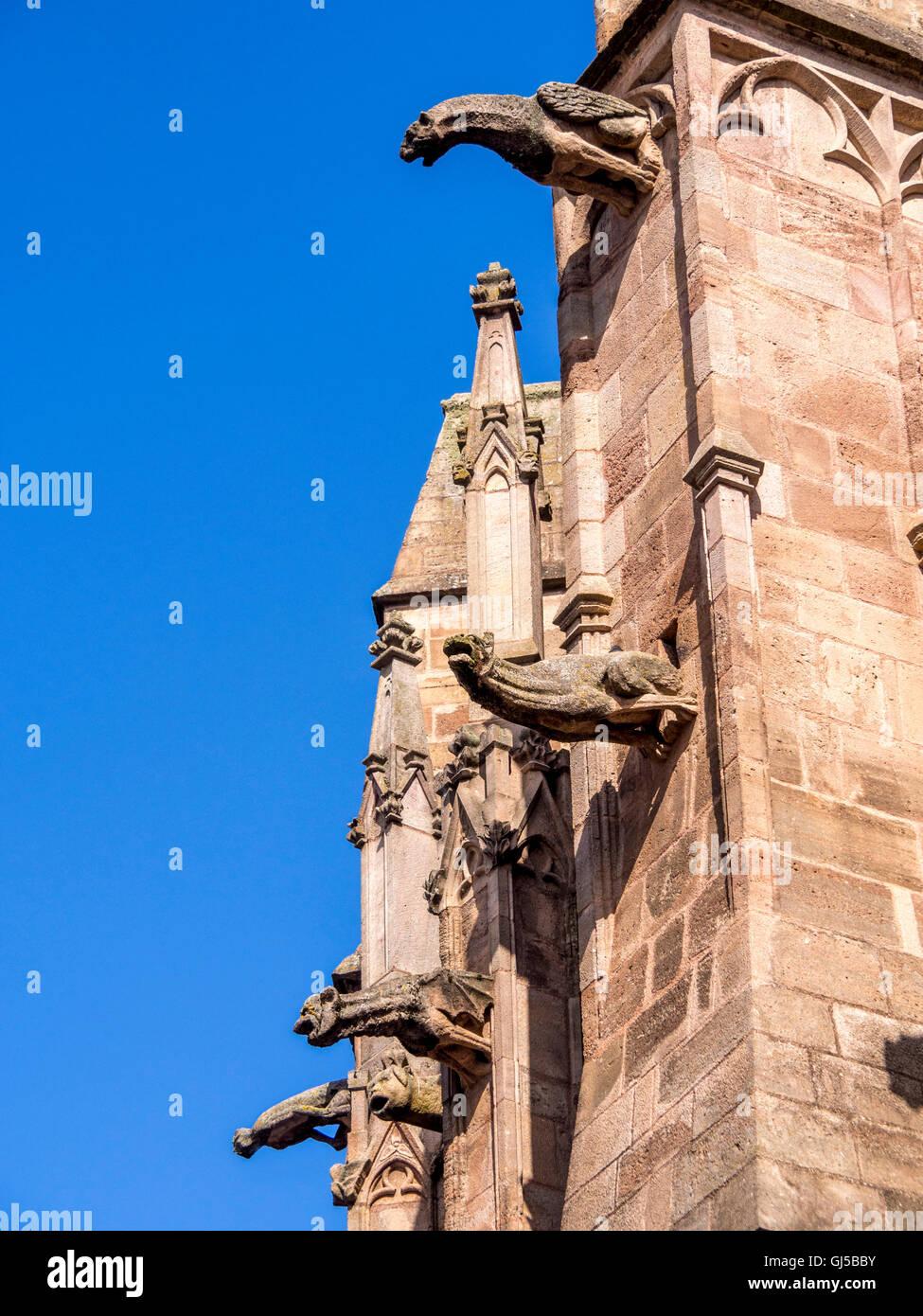 Rodez. Gargoyles of Cathedral Notre Dame. Aveyron. France - Stock Image