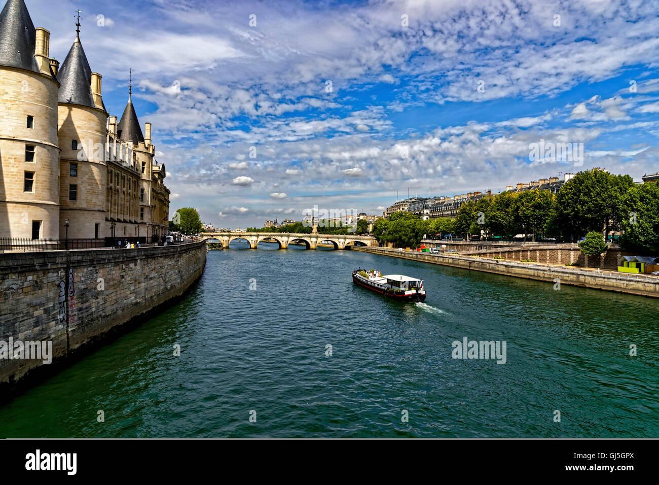 Cour de Cassation and 'Seine', Paris, France - Stock Image