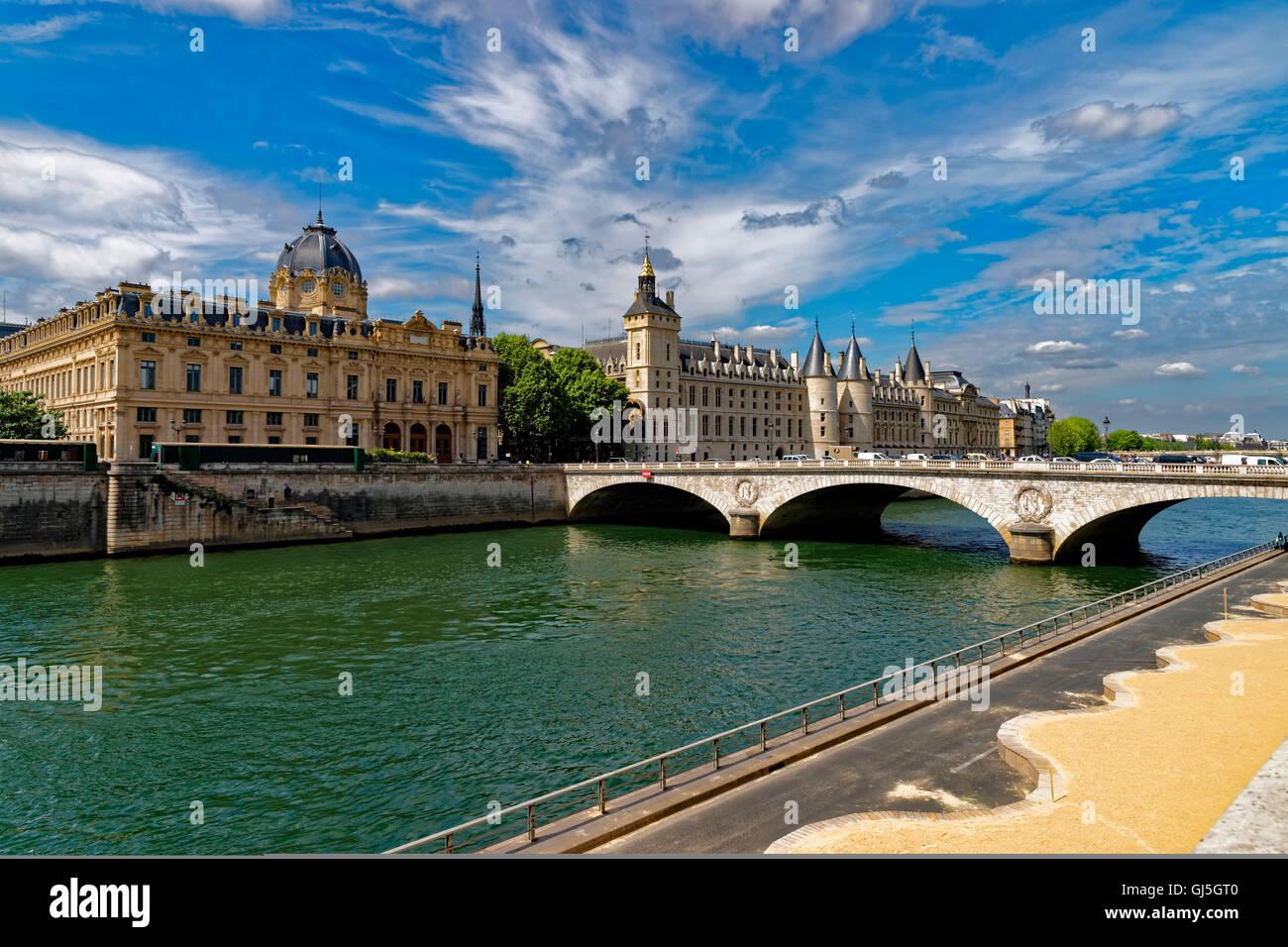 view to commercial court and Cour de Cassation, Paris, France - Stock Image