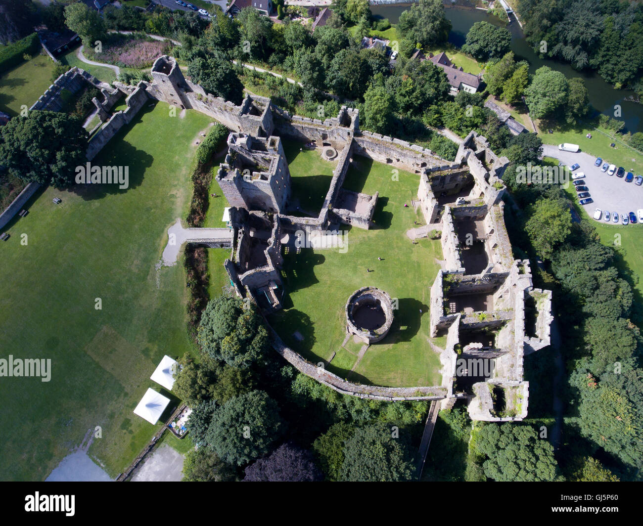 Arial view of Ludlow Castle, Shropshire - Stock Image