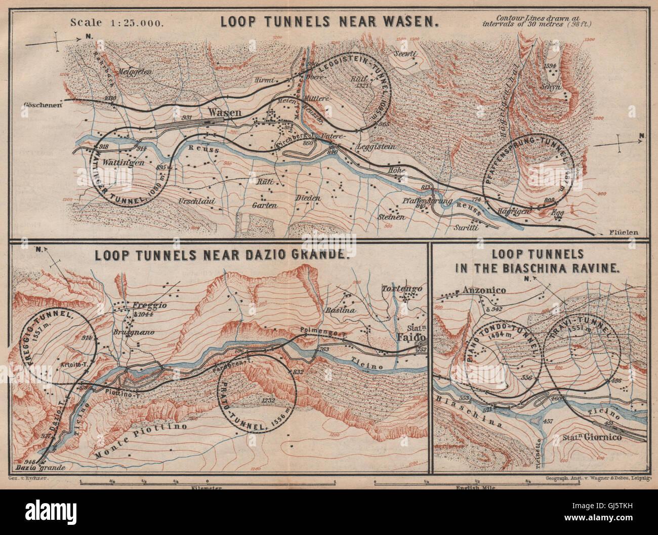 ST GOTTHARD RAILWAY SPIRAL/LOOP TUNNELS Wassen Freggio Prato Biaschina, 1893 map Stock Photo