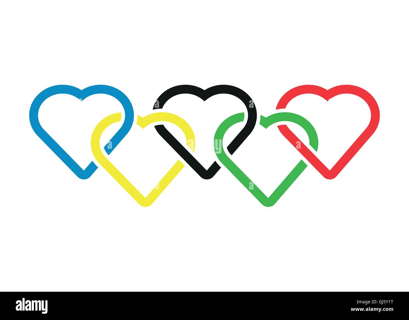 Vector heart shaped olympic rings - Stock Image